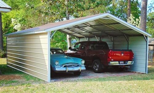 24x25 vertical roof metal carport