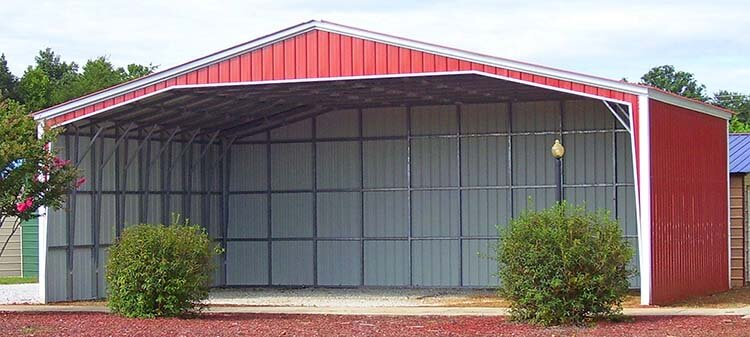 40 wide carport with both sides closed, back end closed and front gable closed