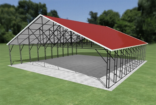 Build your own carport from one of our kits, or use our online tool to build a carport like this red one and let us assemble it on site for you