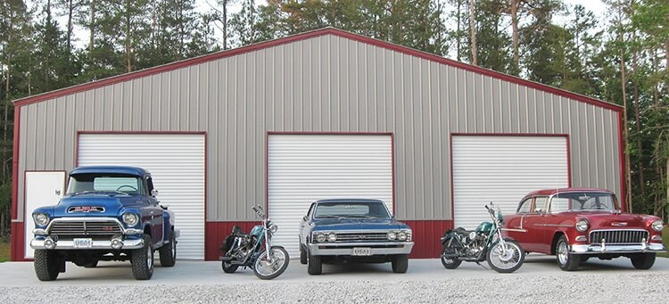 Custom features like vertical siding, shown on this red and beige garage that houses two cars, a truck, and two motorcycles, will increase 3-car garages' prices