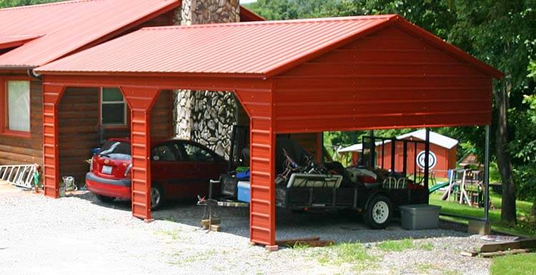 Vertical carport with one side closed with two garage door frame out openings with 45 degree dutch cuts and gable and 3' below gable closed on one end