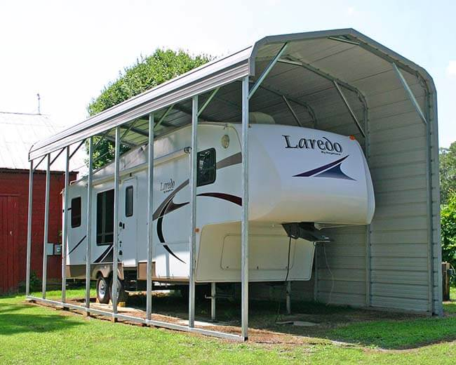 regular carport with 12' legs and one side closed