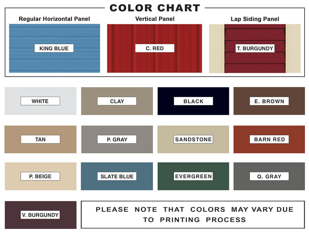 metal buiding, carports, garages color chart