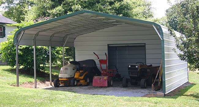 regular carport with last 10' of end closed with a garage door