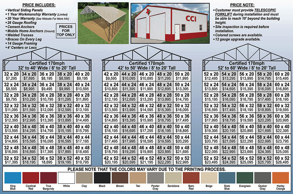32 to 60 Wide Metal Buildings Prices Florida