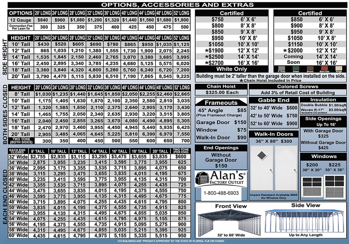 steel building option prices 32 to 60