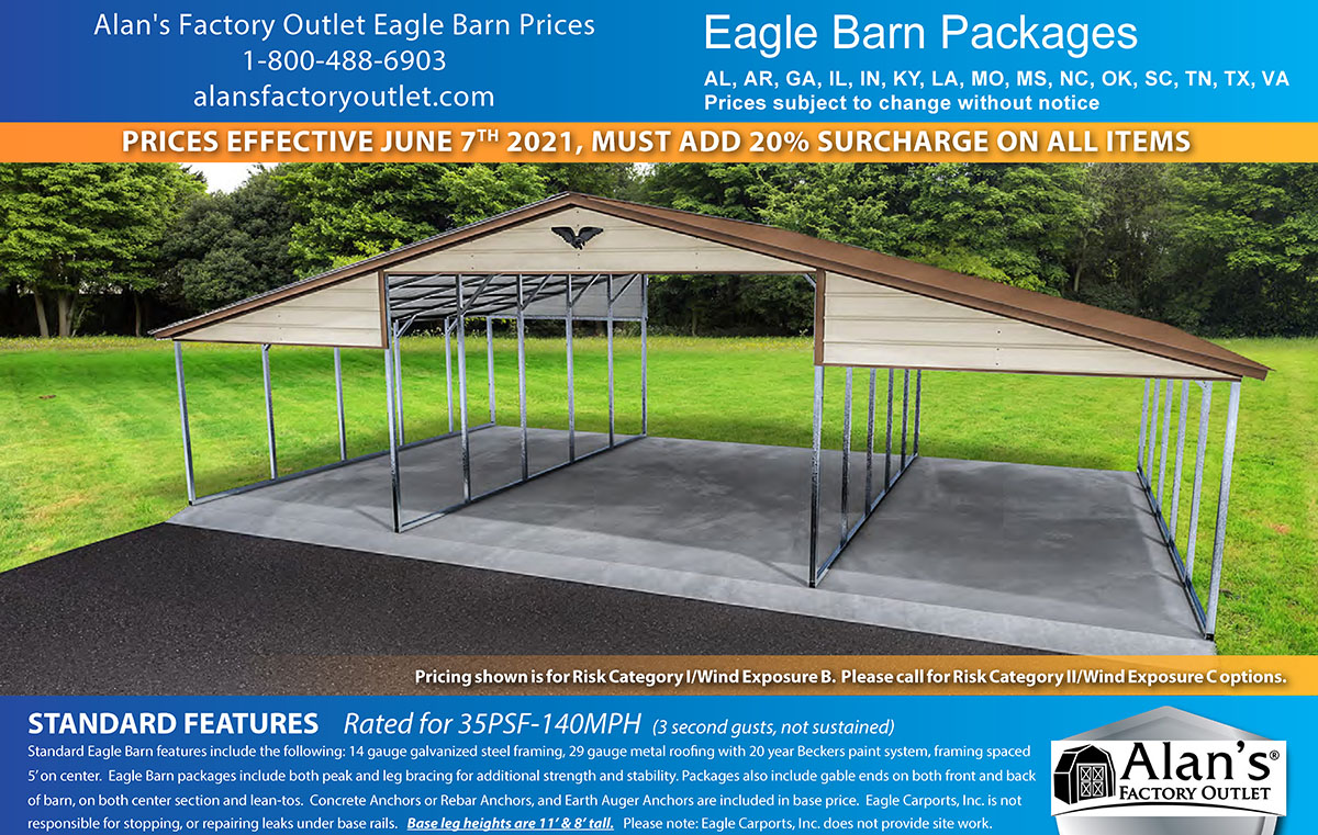 eagle barn lean to prices