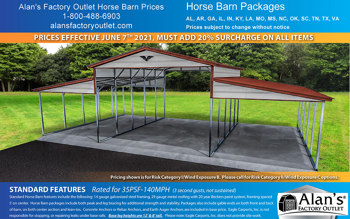 lean to horse barn prices