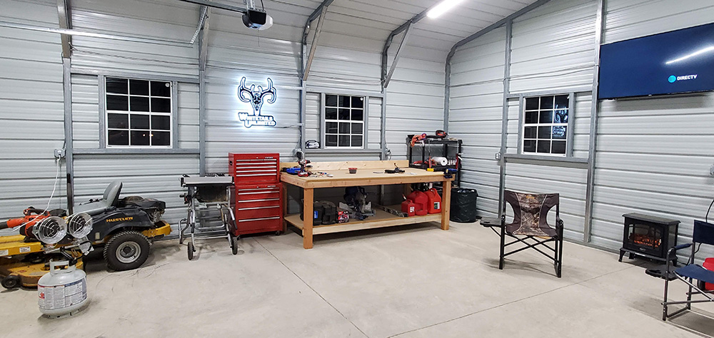 steel buildings interior with concrete pad
