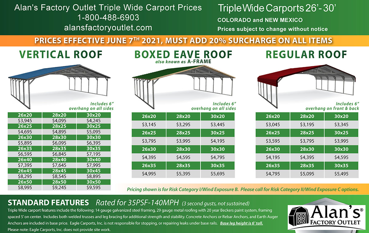 26 to 30 wide carport prices